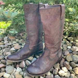 FRYE Anna mid pull on brown leather boot. SZ 6.5